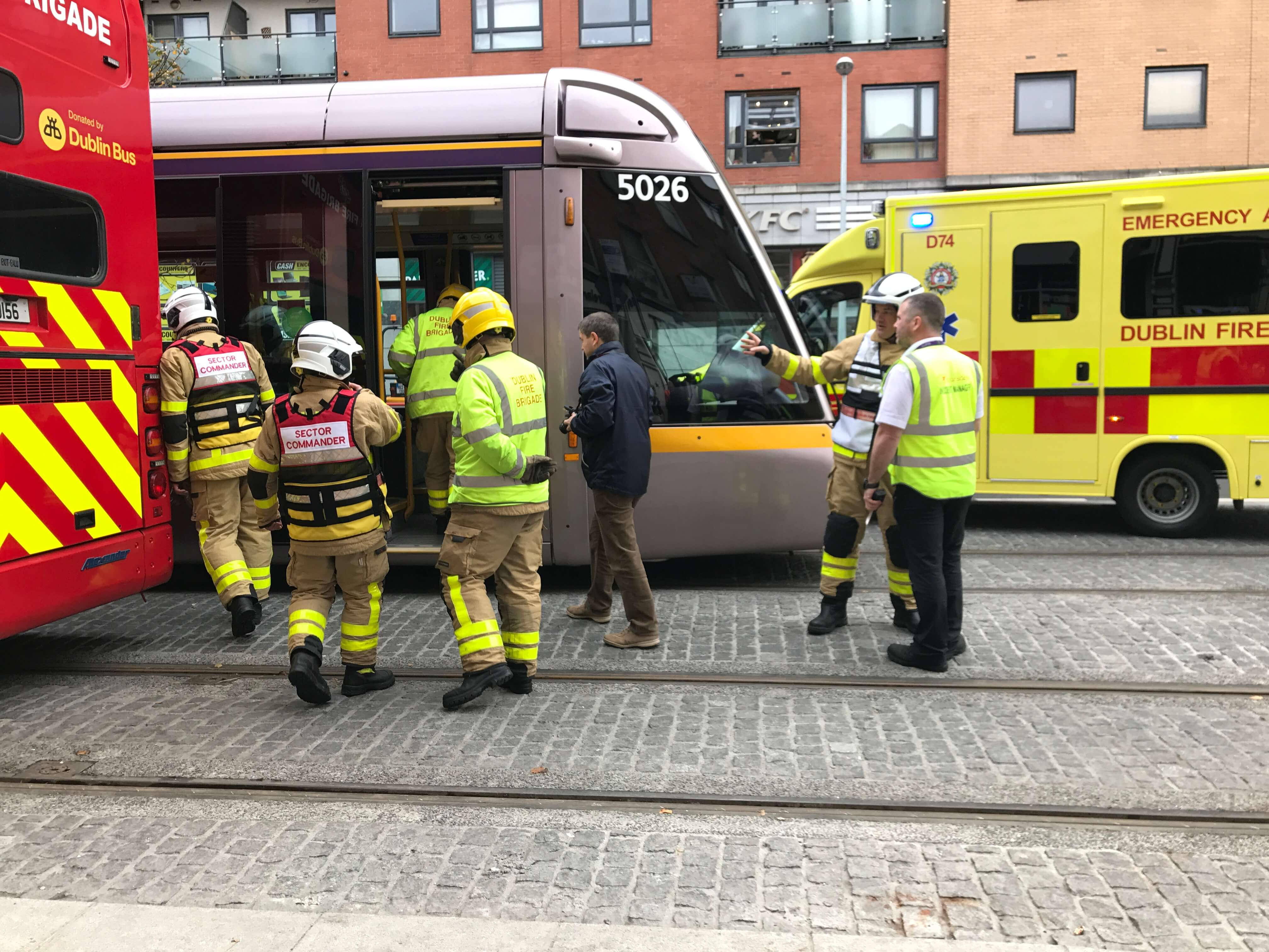 Dublin Fire Brigade take part in a training exercise with Luas and Dublin Bus. Photo credit: Bronwyn Molony.