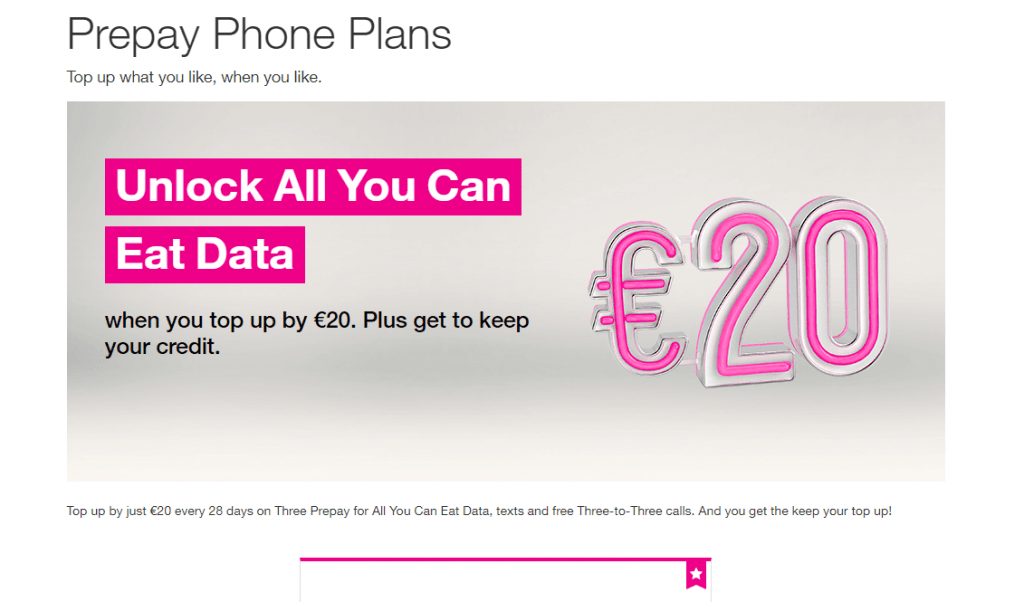A three mobile all you can eat data plan. Credit: three.ie