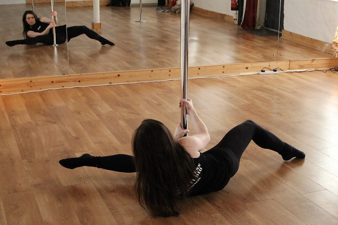 Pole Dance instructor, Sarah Oreilly, in her studio