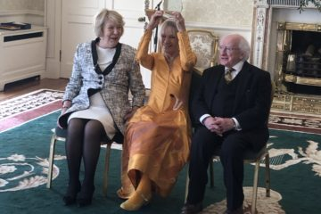 Pauline Bewick with President Michael D. Higgins and Sabina Higgins